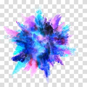 Explosion de poussière Couleur Explosion de poussière, éclaboussure d'encre couleur, expulsion de poudre sacrée bleue et violette png