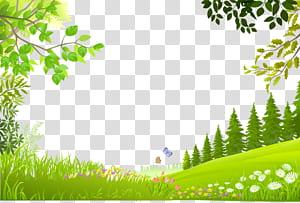 Paysage nature, arbres de bande dessinée plantes vert matériel de fond d'herbe, illustration des arbres verts png