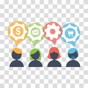 quatre logo de couleurs assorties, icône du travail d'équipe, équipe des activités png