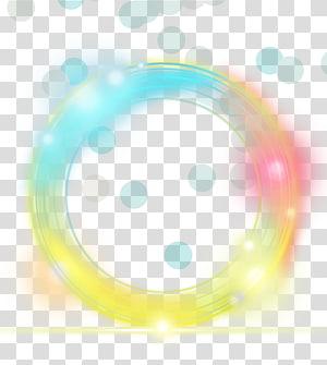 Euclidien jaune clair, élément de l'effet cercle simple lumière jaune, rond jaune, bleu et orange png