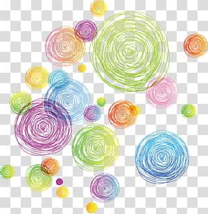 Ligne du cercle euclidien, ligne de cercle géométrique abstrait coloré, illustration de pois png