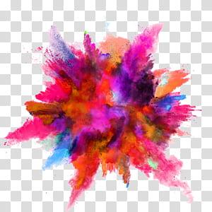 Explosion de poudre couleur, éclaboussure d'encre couleur, éclat de peinture de couleurs assorties png