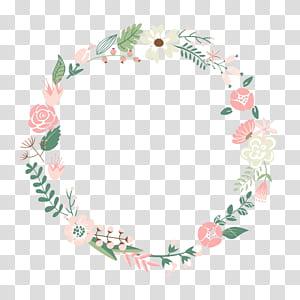 Fleur cadre guirlande, cadre floral, illustration de guirlande florale verte, blanche et rose png