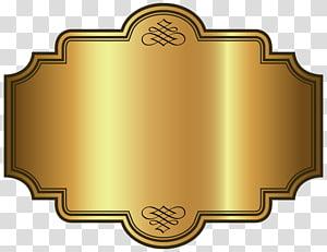 illustration de cadre rectangulaire or et marron, modèle d'étiquette de luxe doré, or, or png
