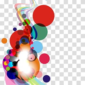 Cercle courbe, abstrait coloré rond et courbe, illustration à pois rouge et multicolore png