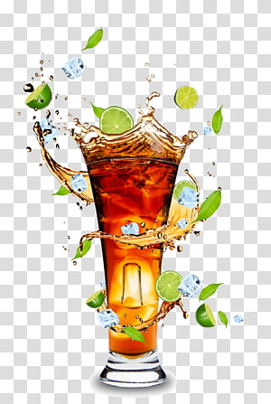 Jus d'orange cocktail rhum et coca cola, jus de fruits et gobelets pour boissons matériel HD, illustrateur de cocktail au citron vert png