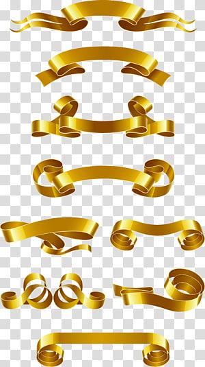 Bannière Web ruban Euclidien, Matériel de bannière de ruban doré, lot de ruban doré png