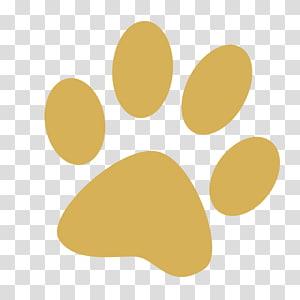 illustration de patte d'animal brun, chien patte chat tigre, empreintes de pieds de chien jaune simple png