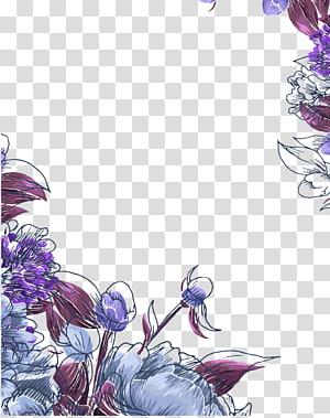 peinture florale pourpre et rouge, faire-part de mariage fleur motif floral anniversaire Réservez la date, bordure pourpre fleurs peintes à la main png