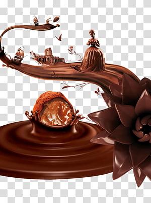 Illustration au chocolat, Ganache au chocolat et crème glacée au chocolat png