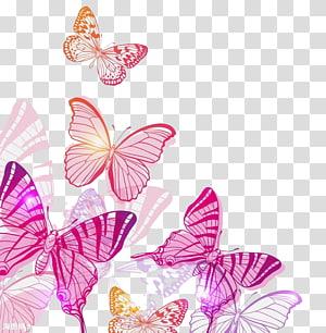 Illustration de papillons, papillons roses, papillons roses et orange png