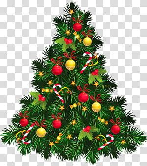 Décoration de Noël arbre de Noël, arbre de Noël avec des ornements, illustration verte arbre de Noël png