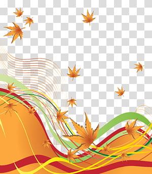 feuille brune, automne, bordure décorative d'automne png