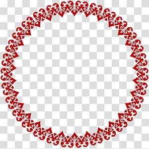 bordure florale rouge, cercle de serviette, cadre bordure ronde coeur png
