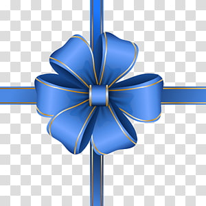 illustration de ruban bleu, arc décoratif bleu png