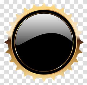 Bouton Web, modèle d'insigne Black Seal, décor rond noir et jaune png